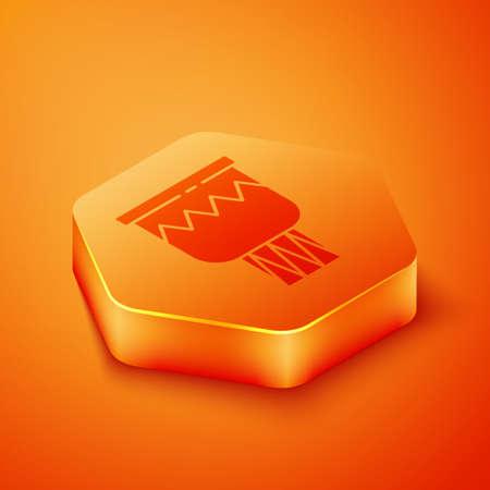 Isometric Drum icon isolated on orange background. Music sign. Musical instrument symbol. Orange hexagon button. Vector