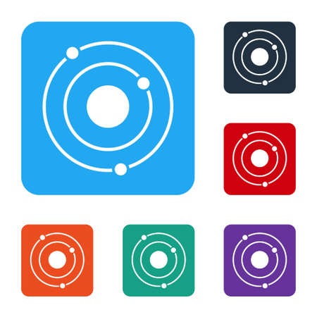 White Solar system icon isolated on white background. The planets revolve around the star. Set icons in color square buttons. Vector