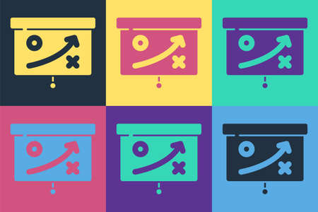 Pop art Planning strategy concept icon isolated on color background. Cup formation and tactic. Vector