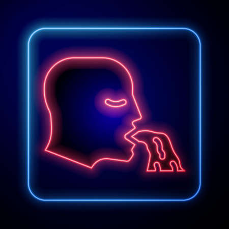 Glowing neon Vomiting man icon isolated on blue background. Symptom of disease, problem with health. Nausea, food poisoning, alcohol poisoning concept. Vector