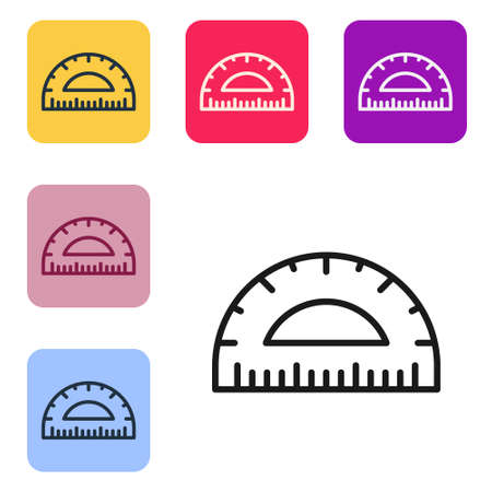 Black line Protractor grid for measuring degrees icon isolated on white background. Tilt angle meter. Measuring tool. Geometric symbol. Set icons in color square buttons. Vector