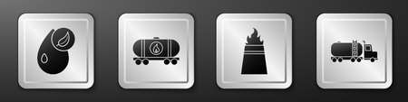 Set Bio fuel, Oil railway cistern, Oil rig with fire and Tanker truck icon. Silver square button. Vector