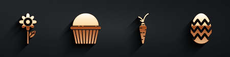 Set Flower, Easter cake, Carrot and Easter egg icon with long shadow. Vector
