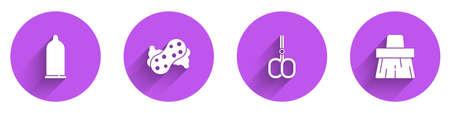 Set Condom, Sponge, Nail scissors and Handle broom icon with long shadow. Vector 矢量图像