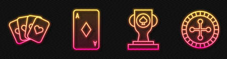 Set line Casino poker trophy cup, Deck of playing cards, Playing card with diamonds and Casino roulette wheel. Glowing neon icon. Vector 矢量图像