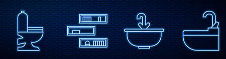 Set line Washbasin with water tap, Toilet bowl, Shelf with books and Washbasin with water tap. Glowing neon icon on brick wall. Vector