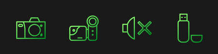 Set line Speaker mute, Photo camera, Cinema and USB flash drive. Gradient color icons. Vector