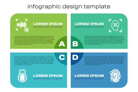 Set line Fingerprint with lock, Rejection voice recognition, and face. Business infographic template. Vector