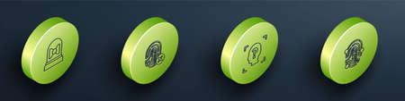 Set Isometric Motion sensor, Rejection fingerprint, Face recognition and Fingerprint icon. Vector