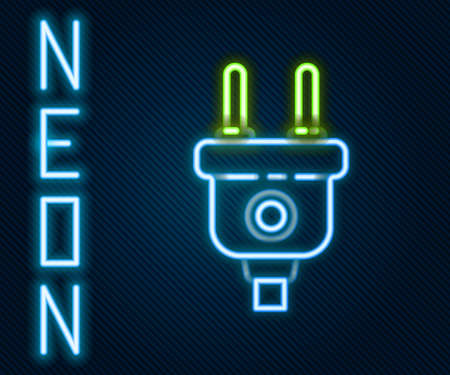 Glowing neon line Electric plug icon isolated on black background. Concept of connection and disconnection of the electricity. Colorful outline concept. Vector Illustration Иллюстрация