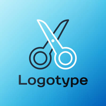 Line Scissors icon isolated on blue background. Cutting tool sign. Colorful outline concept. Vector Illustration