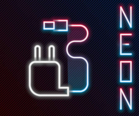 Glowing neon line Charger icon isolated on black background. Colorful outline concept. Vector Illustration