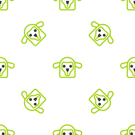 Line Sheep head icon isolated seamless pattern on white background. Animal symbol. Vector Иллюстрация