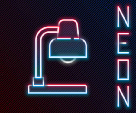Glowing neon line Table lamp icon isolated on black background. Colorful outline concept. Vector Иллюстрация