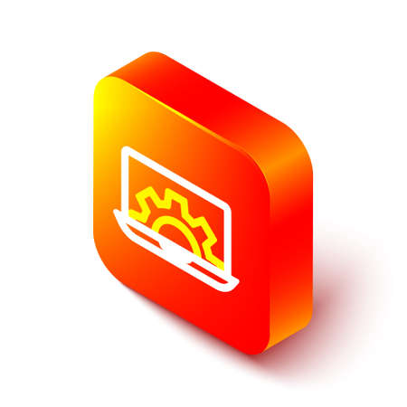 Isometric line Software, web development, programming concept icon isolated on white background. Programming language and program code on screen laptop. Orange square button. Vector