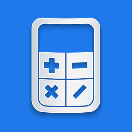 Paper cut Calculator icon isolated on blue background. Accounting symbol. Business calculations mathematics education and finance. Paper art style. Vector Illustration