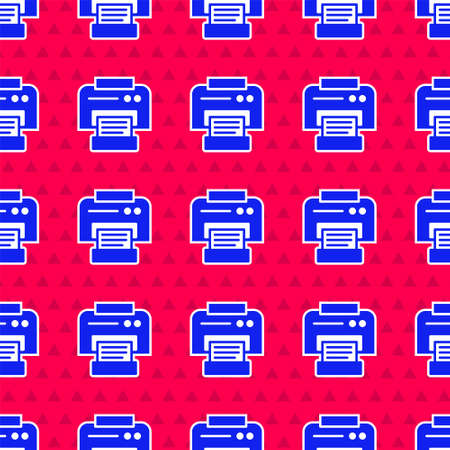 Blue Printer icon isolated seamless pattern on red background. Vector Illustration