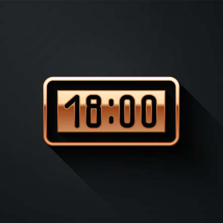 Gold Digital alarm clock icon isolated on black background. Electronic watch alarm clock. Time icon. Long shadow style. Vector Illustration