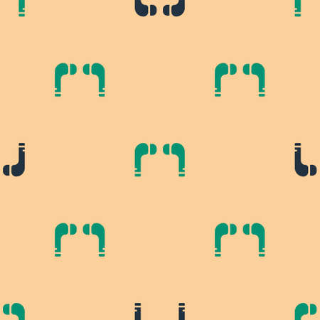 Green and black earphones icon icon isolated seamless pattern on beige background. Holder wireless in case earphones garniture electronic gadget. Vector Illustration