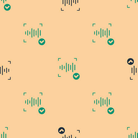 Green and black Voice recognition icon isolated seamless pattern on beige background. Voice biometric access authentication for personal identity recognition. Cyber security. Vector