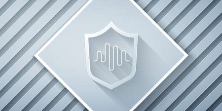 Paper cut Shield voice recognition icon isolated on grey background. Voice biometric access authentication for personal identity recognition. Paper art style. Vector Иллюстрация