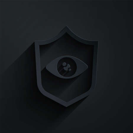 Paper cut Shield eye scan icon isolated on black background. Scanning eye. Security check symbol. Cyber eye sign. Paper art style. Vector Иллюстрация