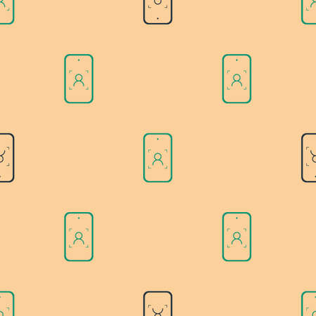 Green and black Mobile phone and face recognition icon isolated seamless pattern on beige background. Face identification scanner icon. Facial id. Cyber security. Vector