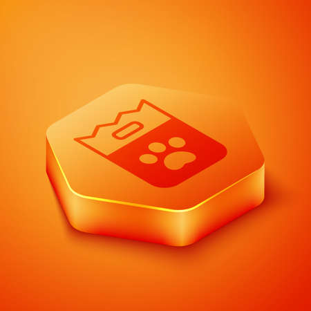 Isometric Bag of food for dog icon isolated on orange background. Dog or cat paw print. Food for animals. Pet food package. Orange hexagon button. Vector Иллюстрация