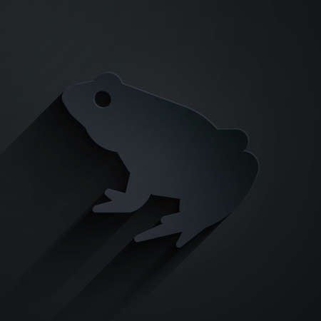 Paper cut Frog icon isolated on black background. Animal symbol. Paper art style. Vector Иллюстрация