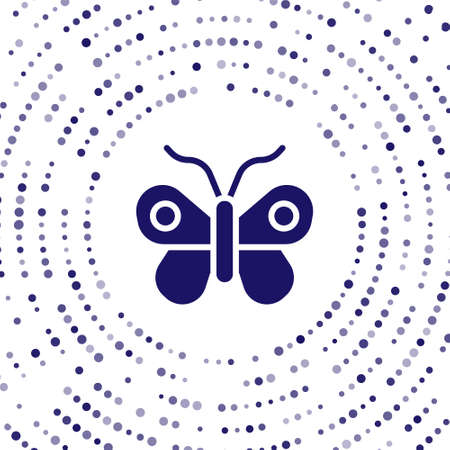 Blue Butterfly icon isolated on white background. Abstract circle random dots. Vector