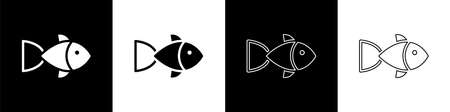 Set Fish icon isolated on black and white background. Vector Иллюстрация