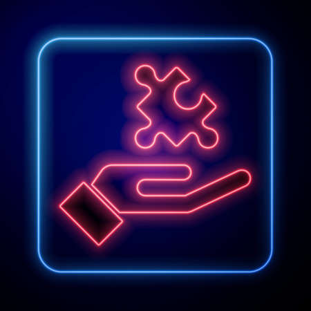 Glowing neon Solution to the problem in psychology icon isolated on blue background. Puzzle. Therapy for mental health. Vector Иллюстрация
