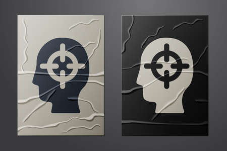 White Finding a problem in psychology icon isolated on crumpled paper background. Paper art style. Vector Иллюстрация