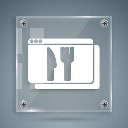White Online ordering and fast food delivery icon isolated on grey background. Square glass panels. Vector