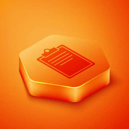 Isometric Clipboard with checklist icon isolated on orange background. Control list symbol. Survey poll or questionnaire feedback form. Orange hexagon button. Vector