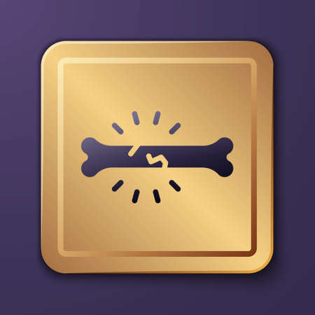 Purple Bone pain icon isolated on purple background. Orthopedic medical. Disease of the joints and bones, arthritis. Gold square button. Vector