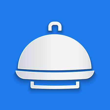 Paper cut Covered with a tray of food icon isolated on blue background. Tray and lid sign. Restaurant cloche with lid. Paper art style. Vector 矢量图像