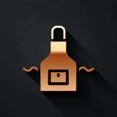 Gold Kitchen apron icon isolated on black background. Chef uniform for cooking. Long shadow style. Vector 矢量图像
