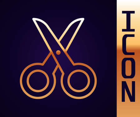 Gold line Scissors icon isolated on black background. Cutting tool sign. Vector Illustration