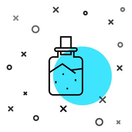 Black line Spa salt icon isolated on white background. Random dynamic shapes. Vector Illustration Ilustração