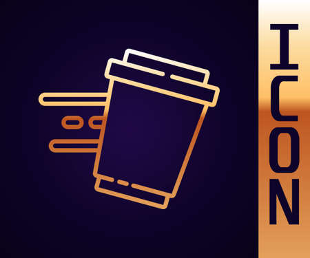 Gold line Coffee cup to go icon isolated on black background. Vector 矢量图像