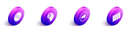 Set Isometric Vinyl disk, Musical note in human head, Speaker volume and Music synthesizer icon. Vector Çizim