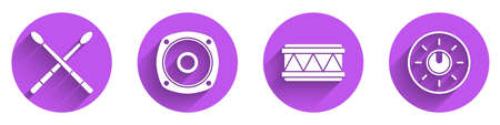 Set Drum sticks, Stereo speaker, Drum and Dial knob level technology settings icon with long shadow. Vector Çizim