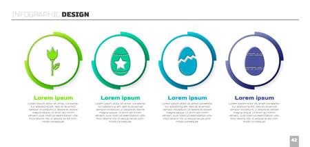 Set Flower tulip, Easter egg, Broken egg and Easter egg. Business infographic template. Vector