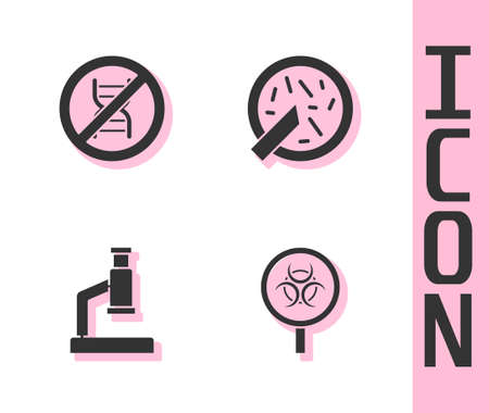 Set Biohazard and magnifying glass, Stop GMO, Microscope and Petri dish with bacteria icon. Vector Illustration