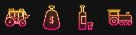 Set line Whiskey bottle and glass, Western stagecoach, Money bag and Retro train. Glowing neon icon. Vector