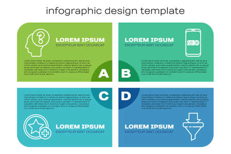 Set line Star, Human head with question mark, Sales funnel with arrows and Mobile phone SEO optimization. Business infographic template. Vector