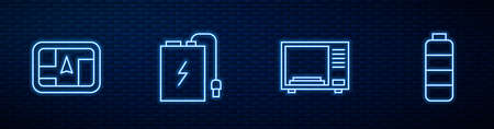 Set line Microwave oven, Gps device with map, Power bank charge cable and Battery level indicator. Glowing neon icon on brick wall. Vector