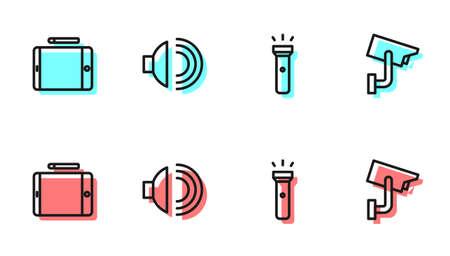 Set line Flashlight, Graphic tablet, Speaker volume and Security camera icon. Vector Çizim