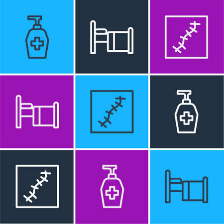 Set line Liquid antibacterial soap, Scar with suture and Hospital bed icon. Vector